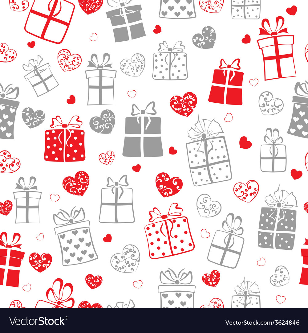 Seamless pattern of hearts and gift boxes vector   Price: 1 Credit (USD $1)