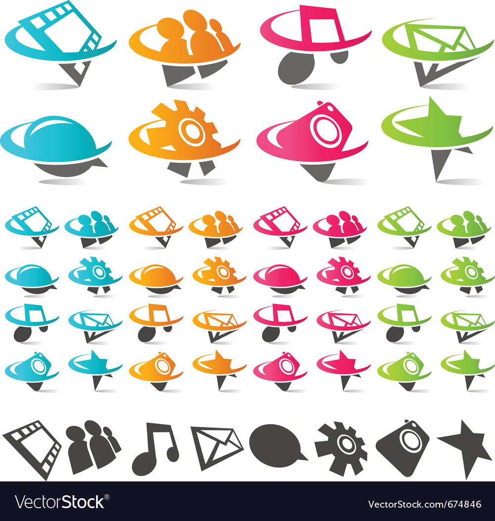 Swoosh social media icons vector | Price: 3 Credit (USD $3)