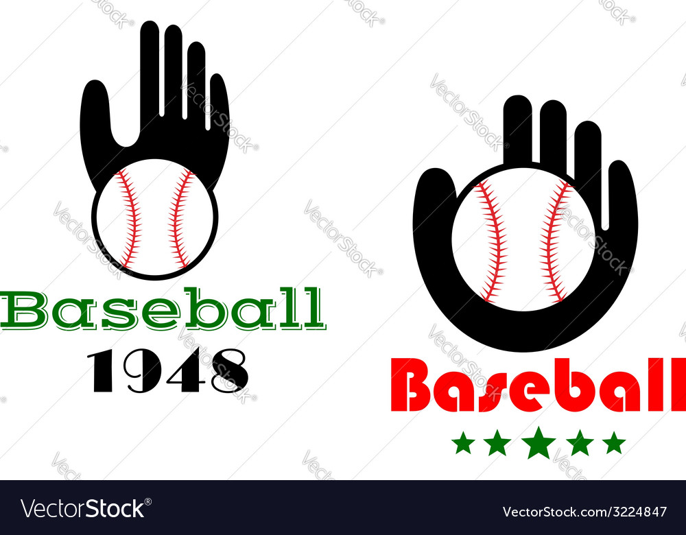 Baseball icons or emblems with people hand vector | Price: 1 Credit (USD $1)