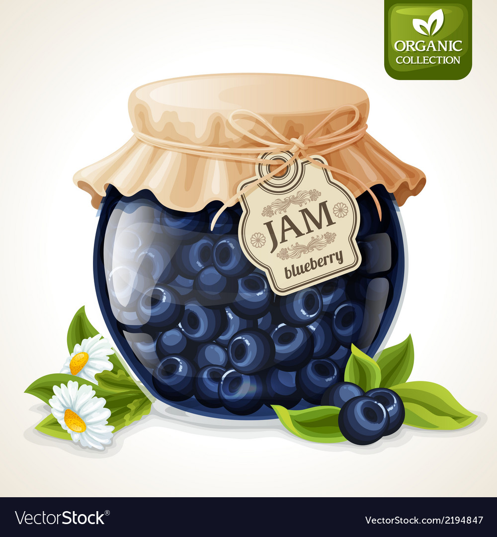 Blueberry jam glass vector | Price: 1 Credit (USD $1)