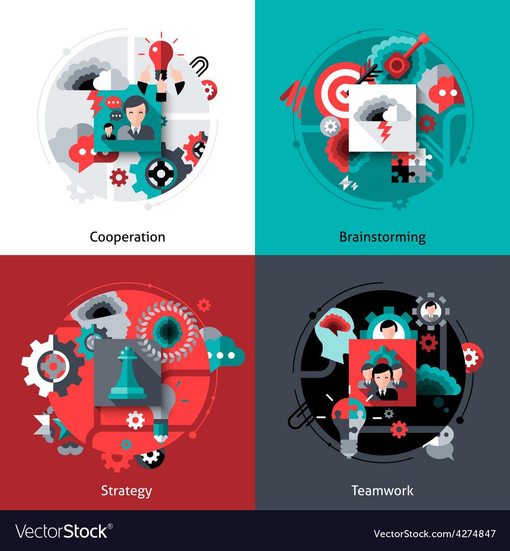 Brainstorming and teamwork set vector | Price: 1 Credit (USD $1)
