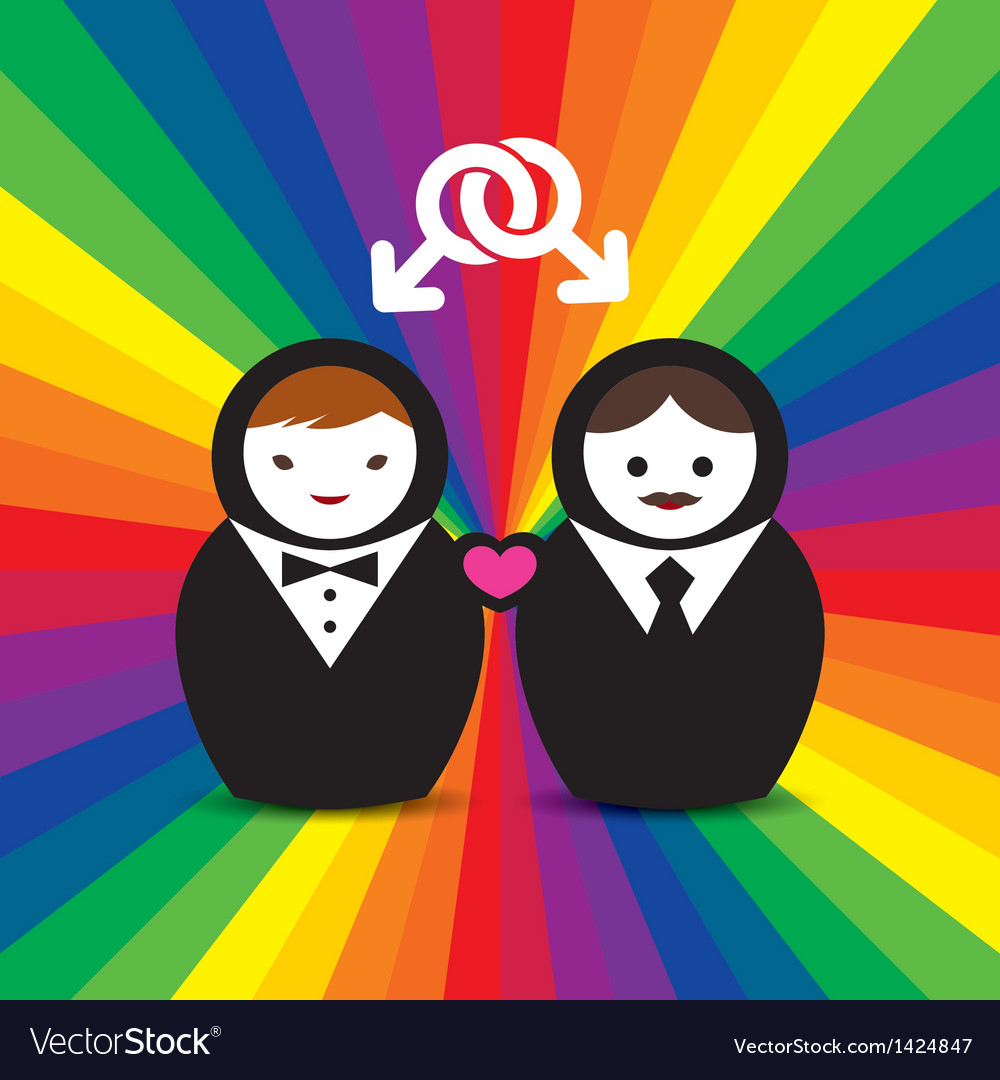 Gay couple married doll vector