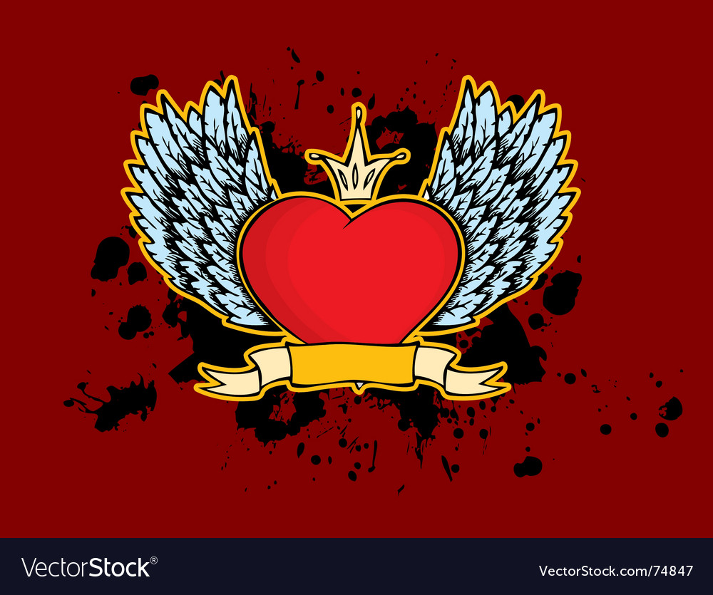 Heart wings vector | Price: 1 Credit (USD $1)