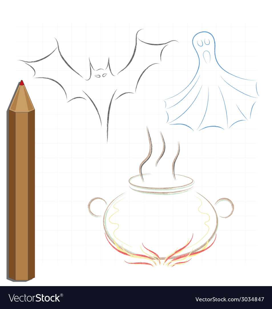 Pencil drawing on the theme of halloween vector | Price: 1 Credit (USD $1)
