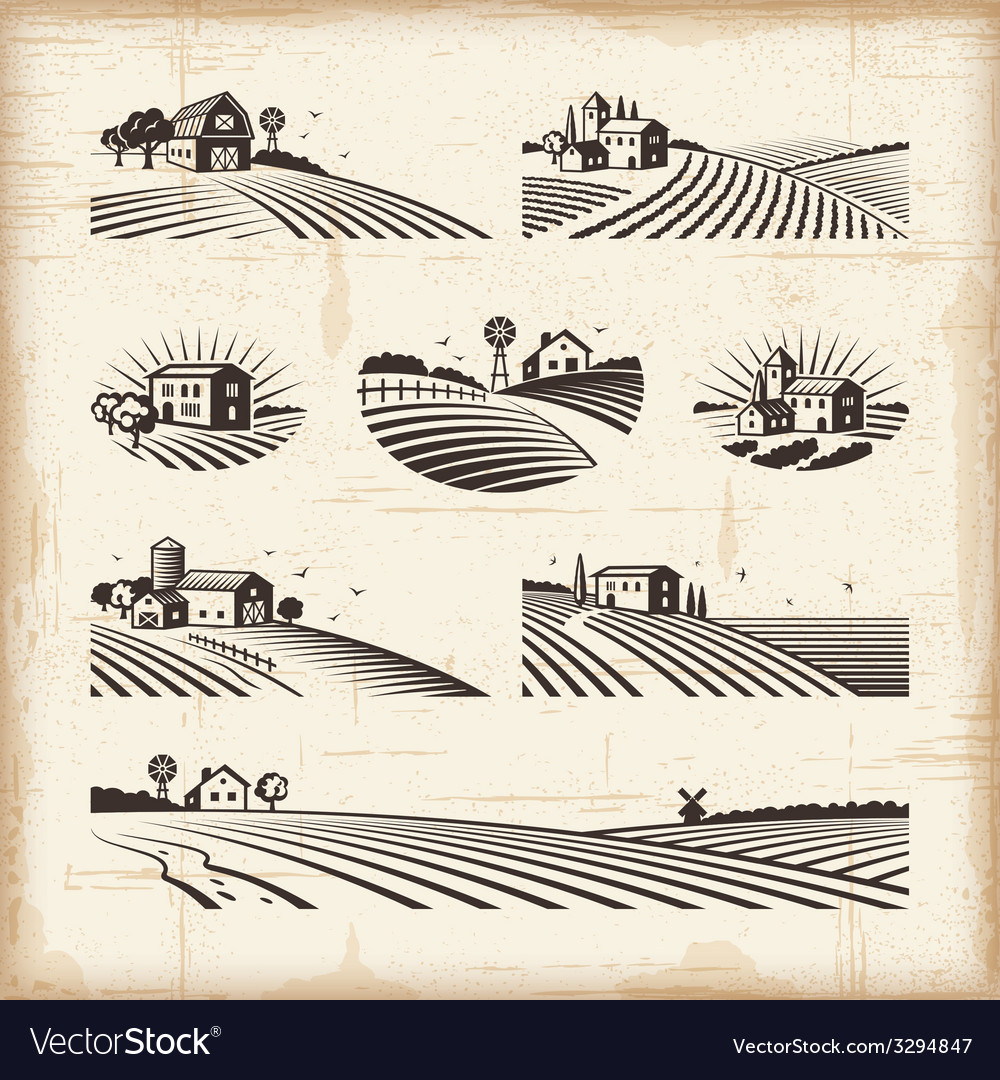 Retro landscapes vector | Price: 3 Credit (USD $3)