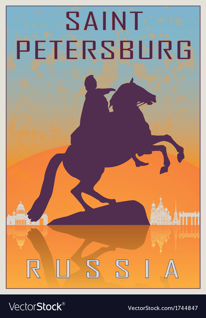 Saint petersburg vintage poster vector | Price: 1 Credit (USD $1)