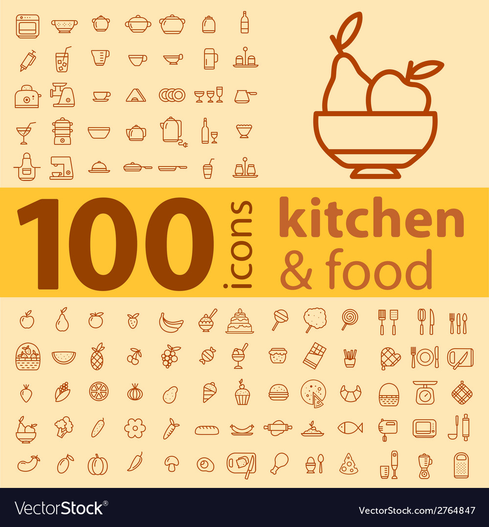 Set of 100 icons of different types of cookware vector