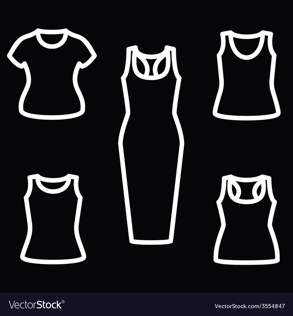 Set of t-shirts and dress icon vector | Price: 1 Credit (USD $1)