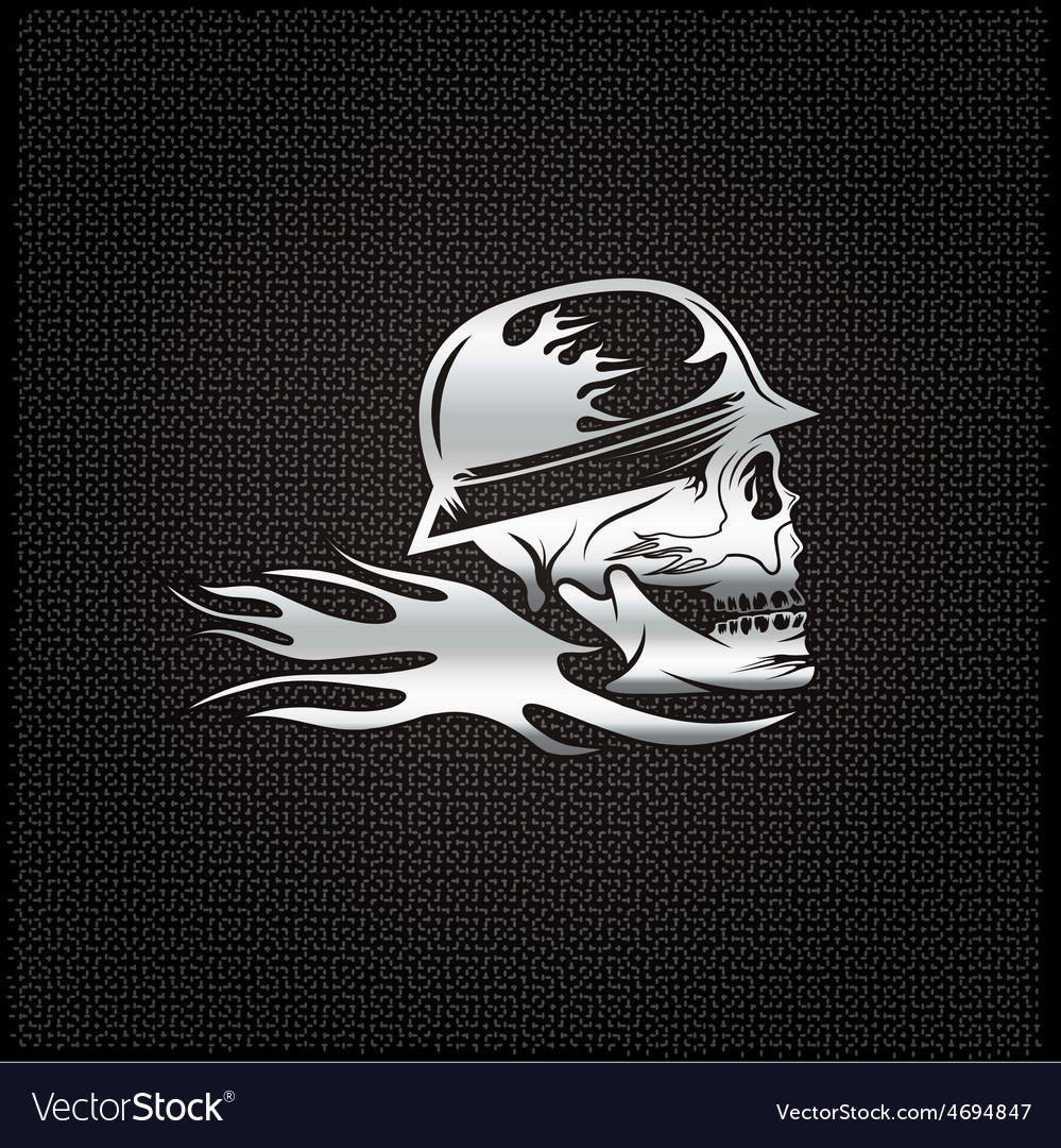 Silver skull in helmet with flame concept design vector | Price: 1 Credit (USD $1)