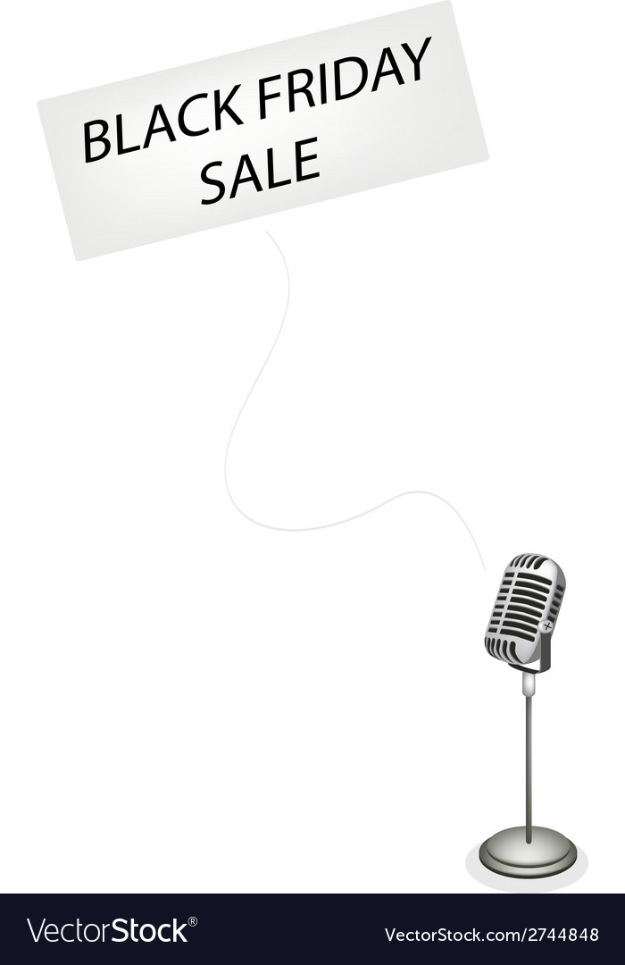 A retro microphone broadcasting black friday sale vector | Price: 1 Credit (USD $1)