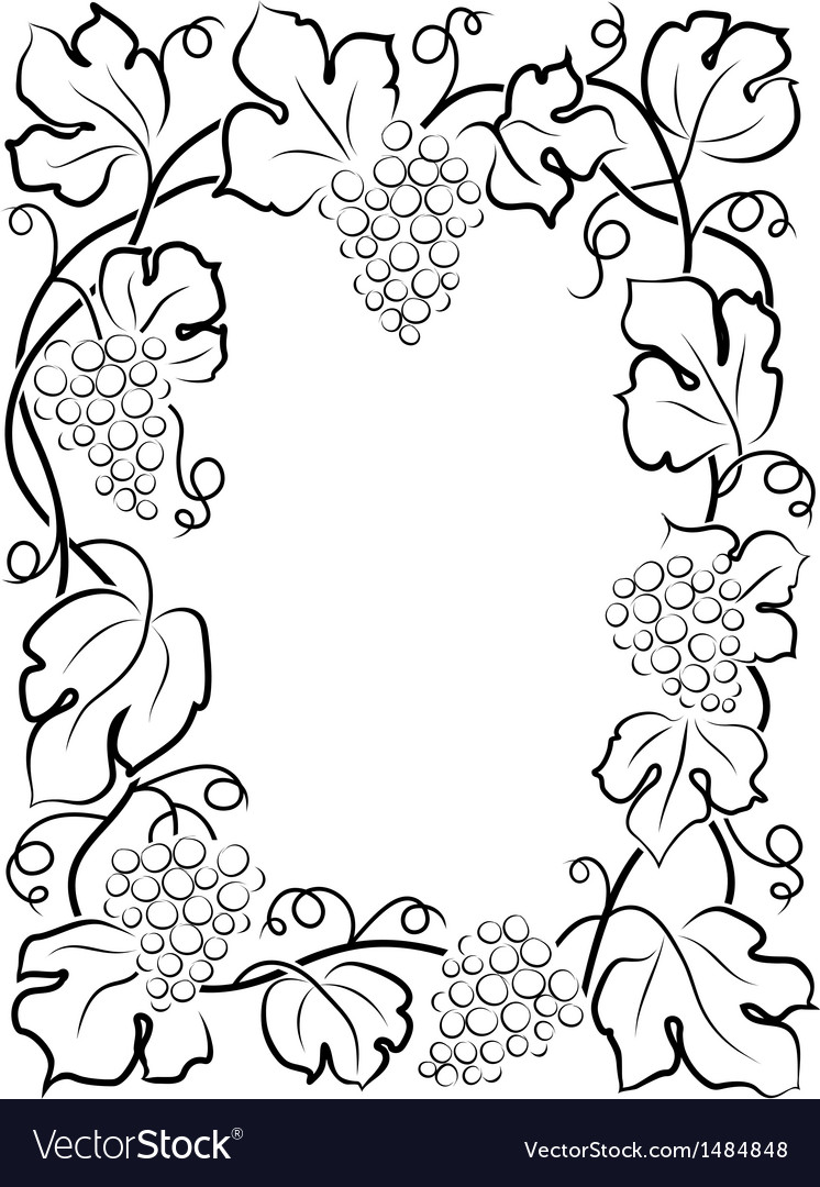 Black calligraphy frame wine label vine grapes vector | Price: 1 Credit (USD $1)