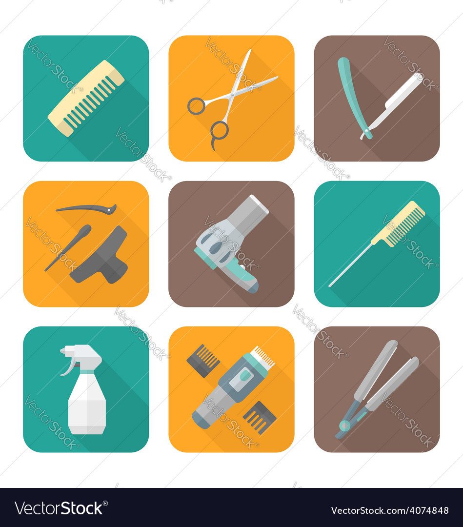 Hairdresser tools color flat style icons set vector | Price: 1 Credit (USD $1)