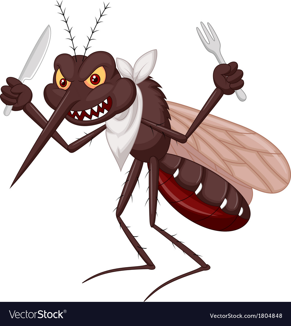 Mosquito cartoon ready for eat vector | Price: 1 Credit (USD $1)