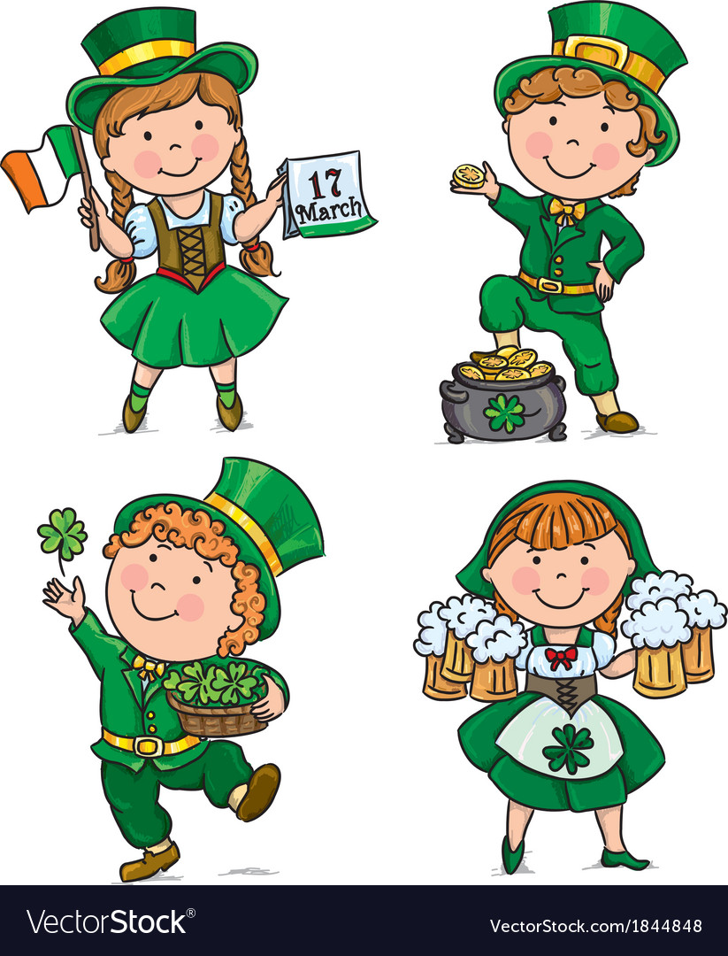 St patricks day cute kids vector | Price: 1 Credit (USD $1)