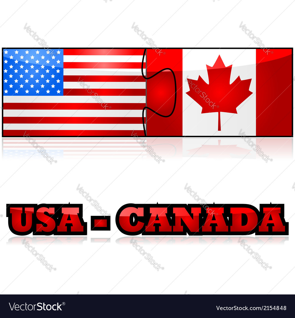 United states and canada puzzle vector | Price: 1 Credit (USD $1)