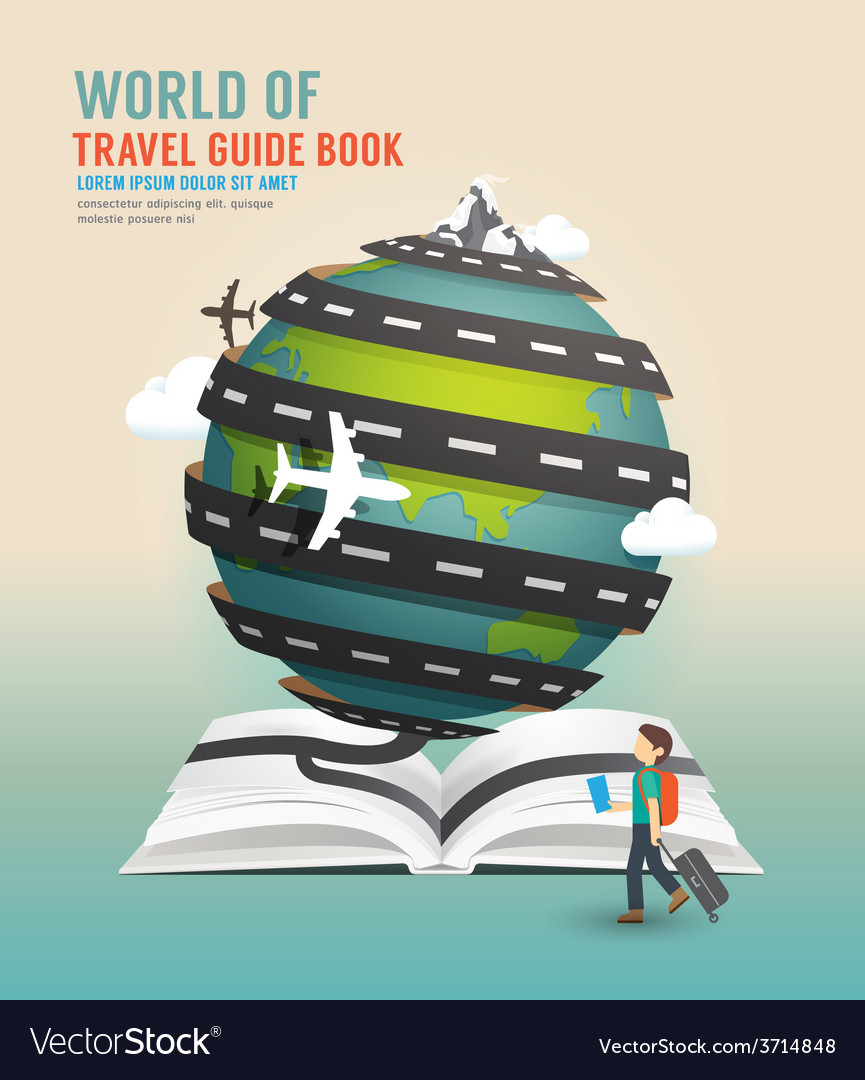 World travel design open book guide concept vector | Price: 1 Credit (USD $1)