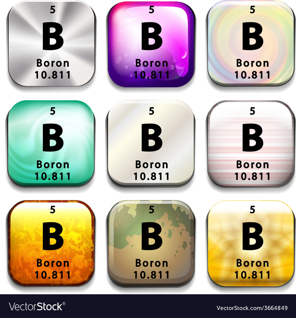 A periodic table button showing boron vector | Price: 1 Credit (USD $1)