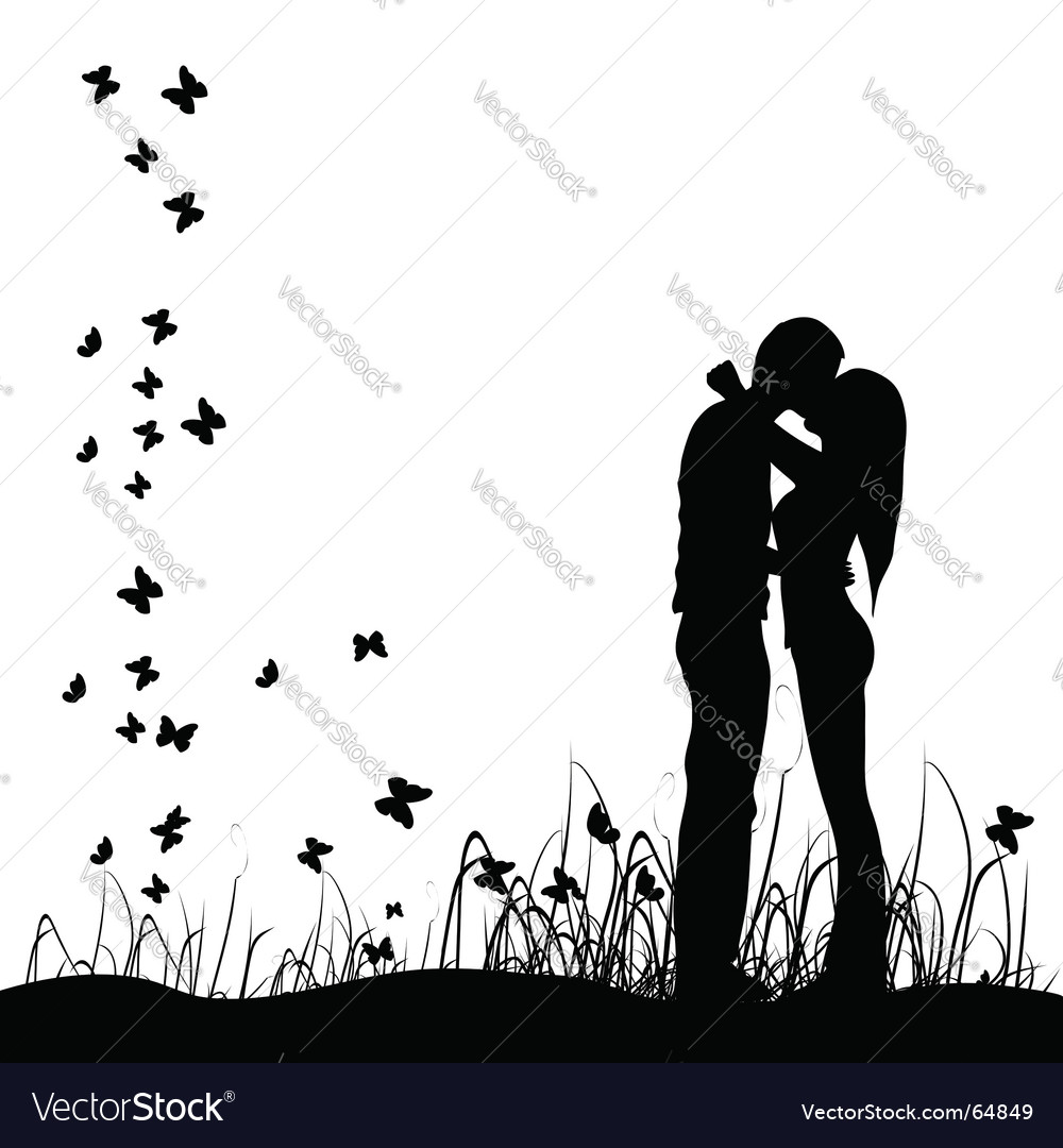 Couple in a meadow vector | Price: 1 Credit (USD $1)