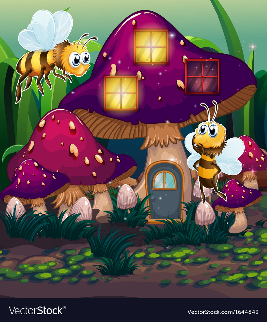Dragonflies near the enchanted mushroom house vector | Price: 3 Credit (USD $3)