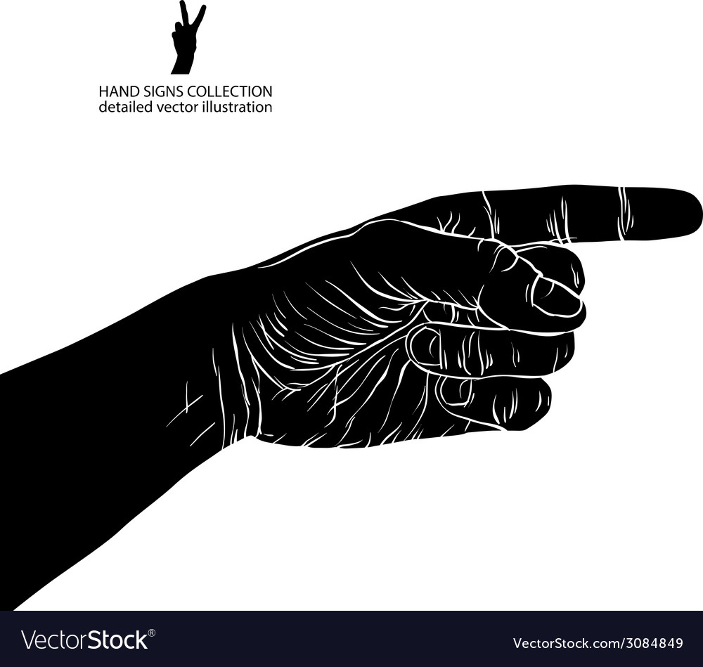 Finger pointing hand detailed black and white vector | Price: 1 Credit (USD $1)