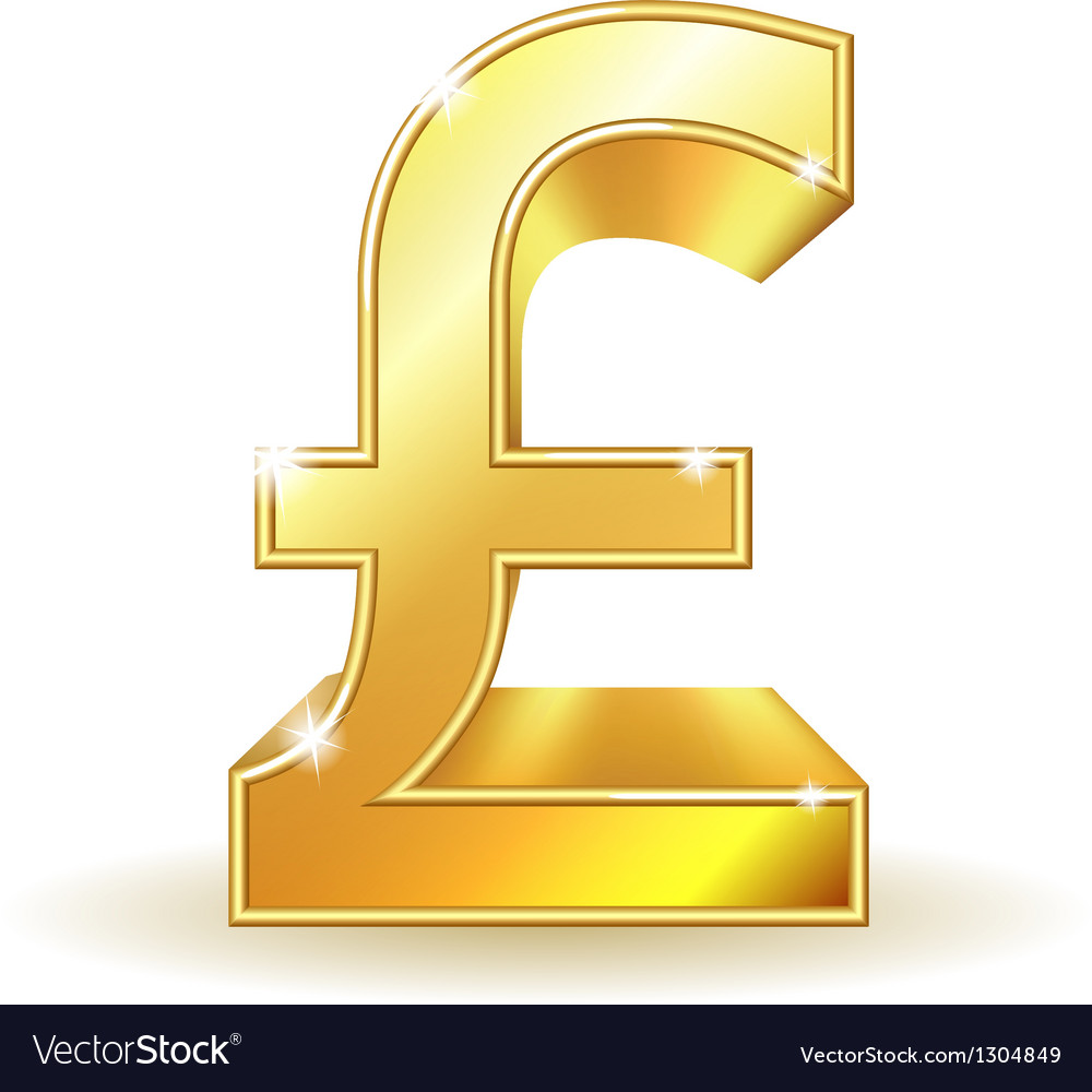 Gold sign pound currency vector | Price: 3 Credit (USD $3)
