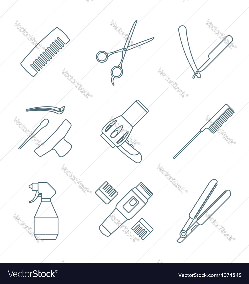 Hairdresser tools dark color outline icons set vector | Price: 1 Credit (USD $1)