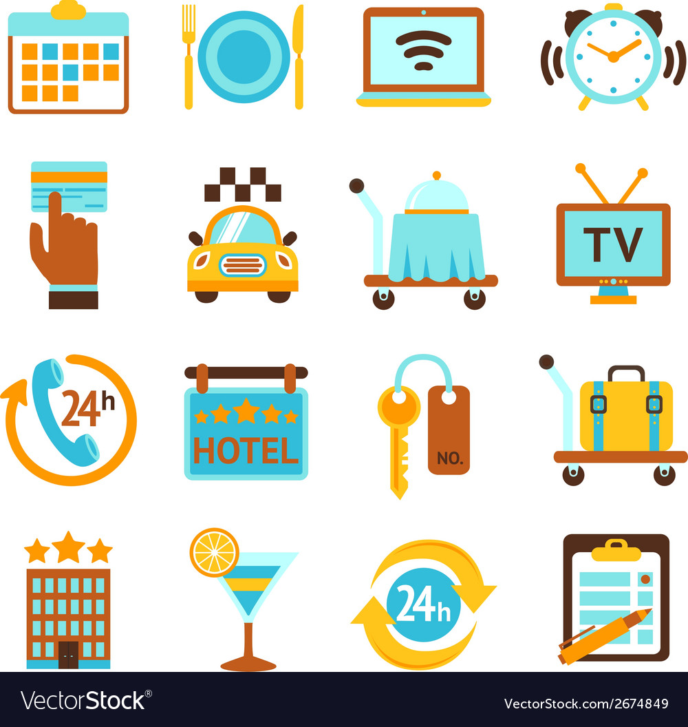Hotel services flat icons set vector | Price: 1 Credit (USD $1)
