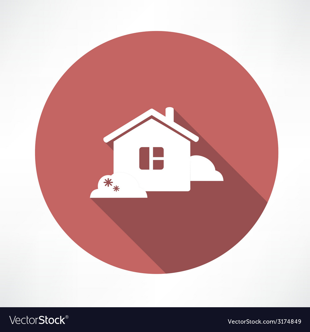 House with shrubs icon vector | Price: 1 Credit (USD $1)