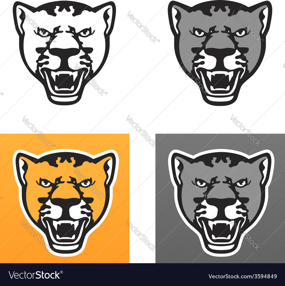 Panther head set vector | Price: 1 Credit (USD $1)