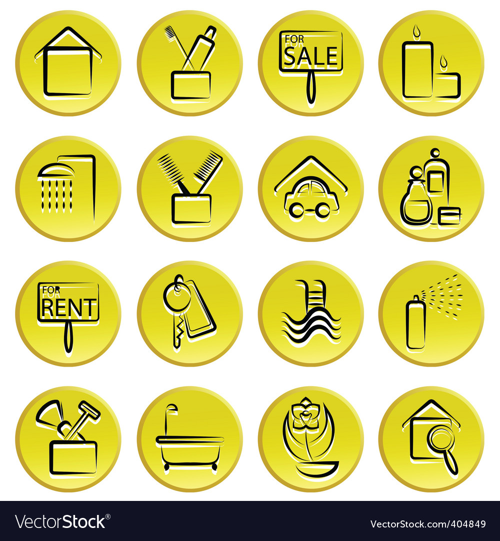 Real estate home icons vector | Price: 1 Credit (USD $1)