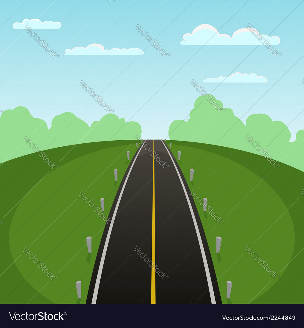 Road over field vector | Price: 1 Credit (USD $1)