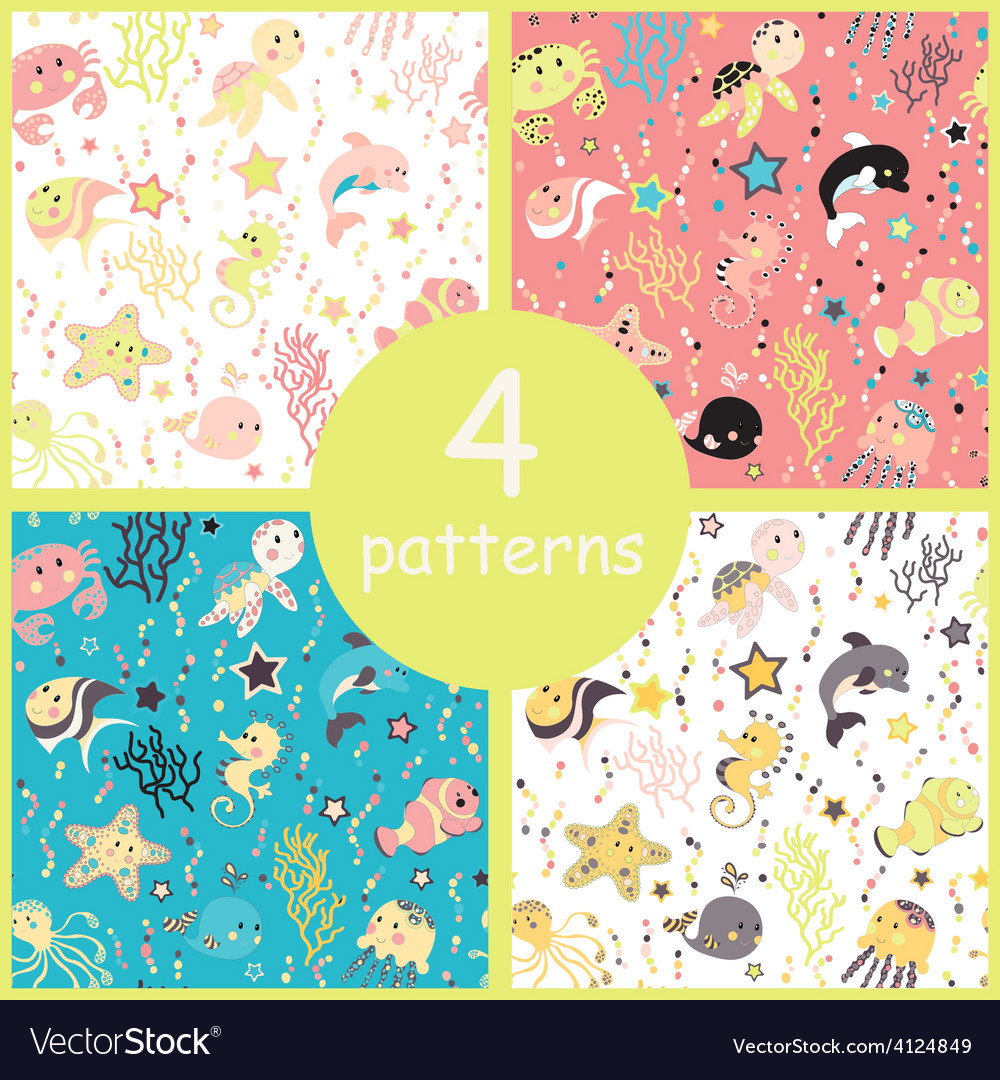 Sea creatures seamless pattern vector | Price: 1 Credit (USD $1)
