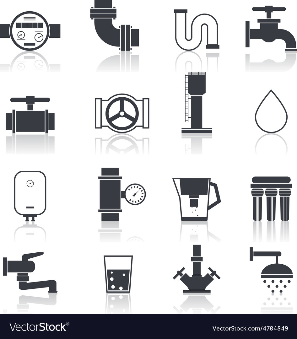 Water supply icons black vector | Price: 3 Credit (USD $3)