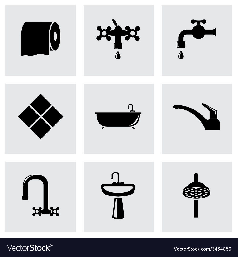 Black bathroom icon set vector | Price: 1 Credit (USD $1)