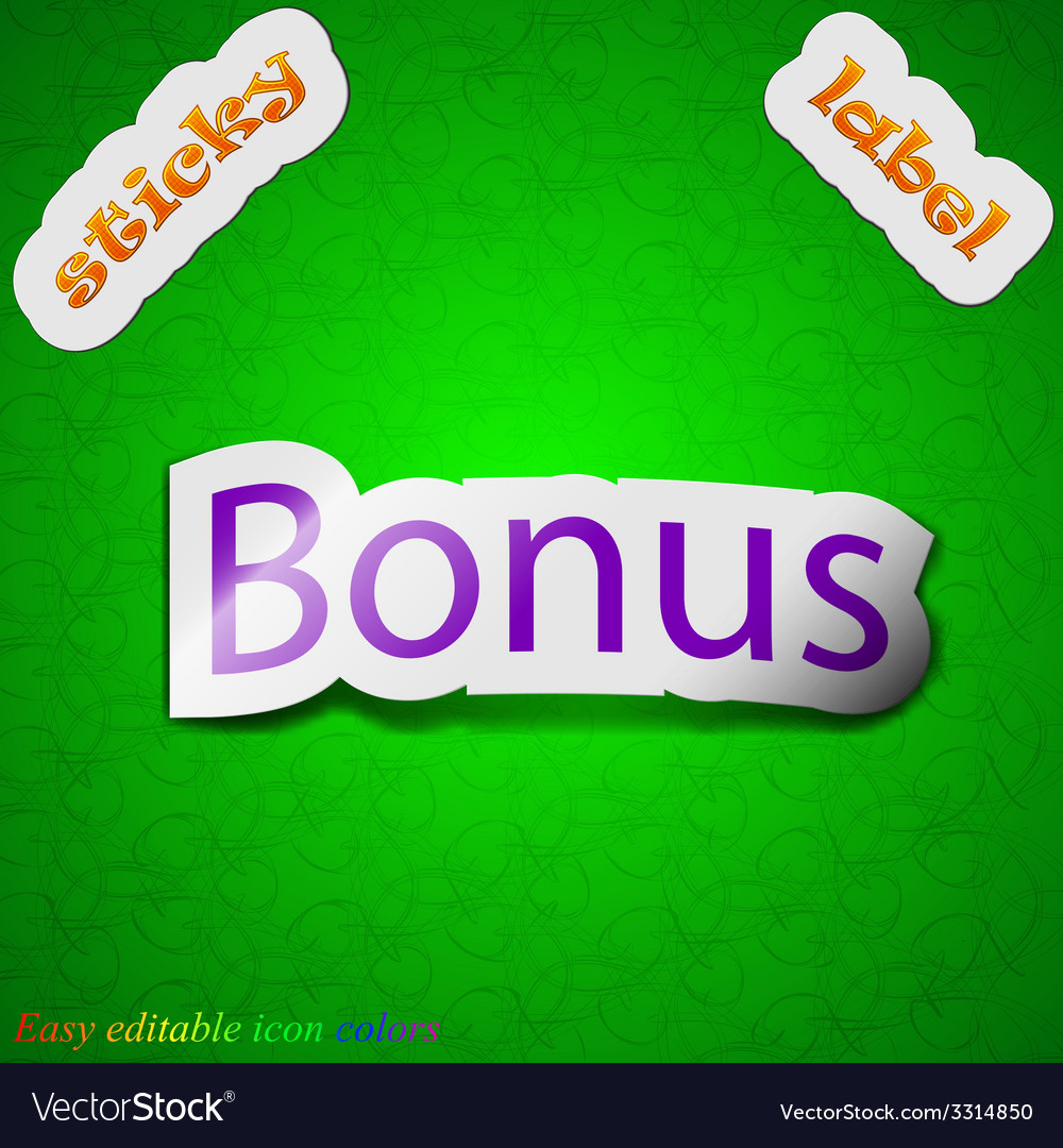 Bonus icon sign symbol chic colored sticky label vector   Price: 1 Credit (USD $1)