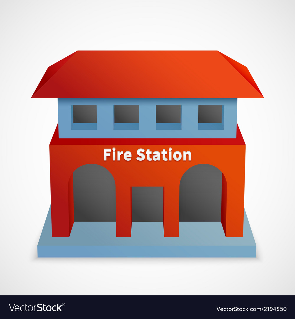 Fire station building vector | Price: 1 Credit (USD $1)