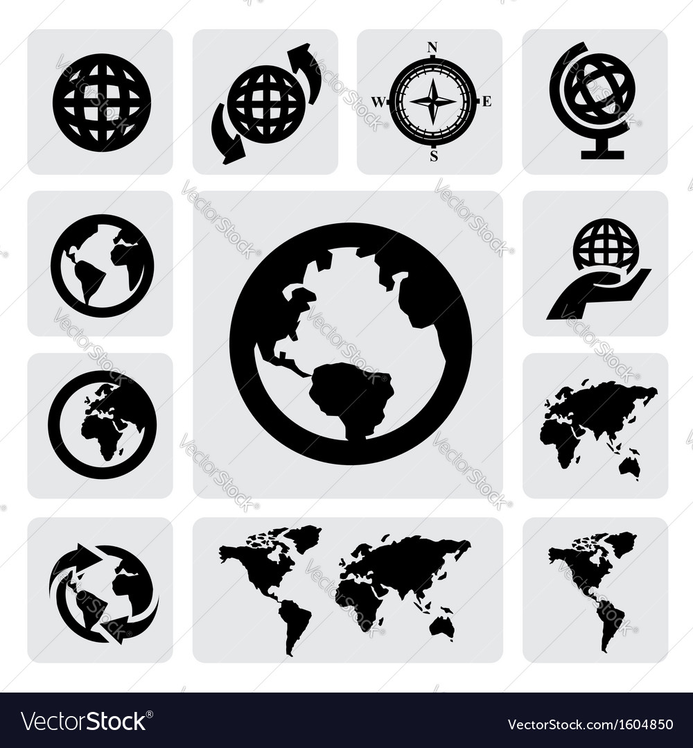Globe and world map vector | Price: 1 Credit (USD $1)