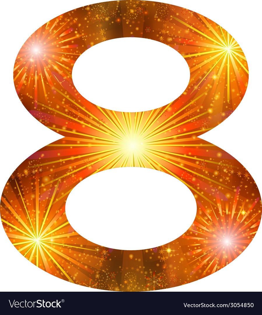 Number of orange firework eight vector | Price: 1 Credit (USD $1)