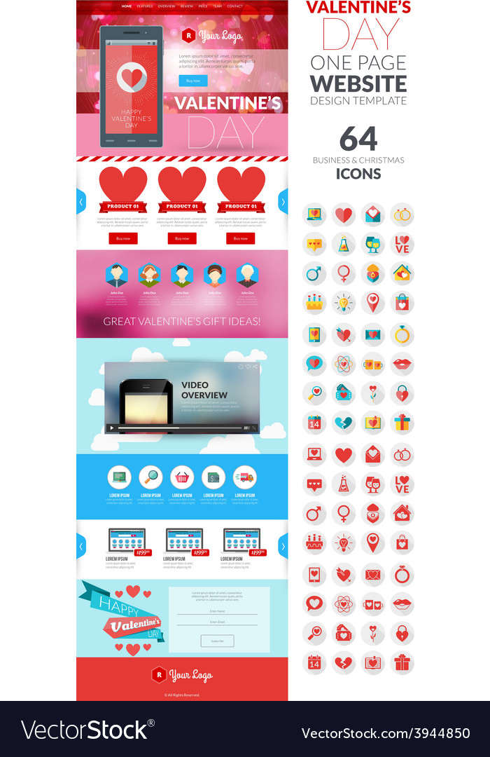 One page website template in flat style with icon vector   Price: 1 Credit (USD $1)