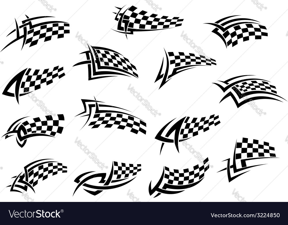 Racing sport checkered flag icons vector | Price: 1 Credit (USD $1)