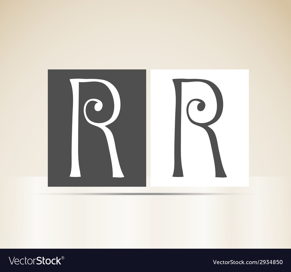 Retro alphabet letter r art deco vintage design vector | Price: 1 Credit (USD $1)