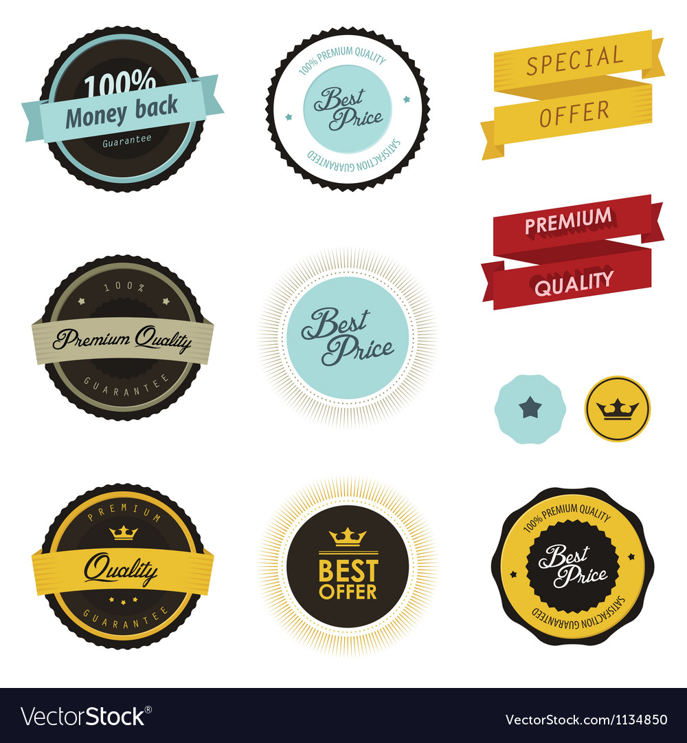 Set of vintage sale labels badges and stickers vector | Price: 1 Credit (USD $1)
