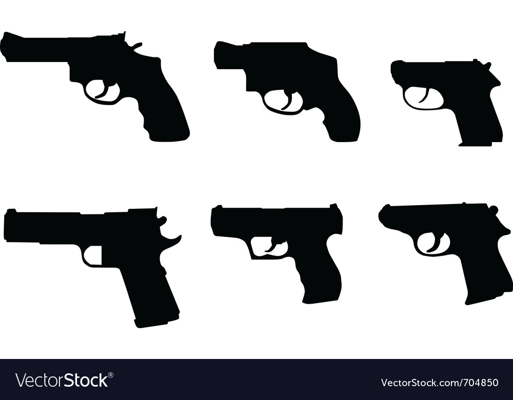 Six hand gun silhouettes vector | Price: 1 Credit (USD $1)