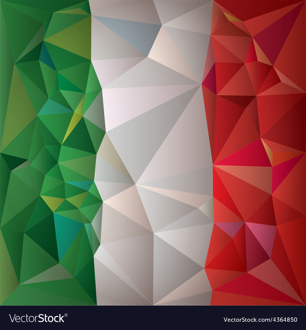 Stylized flag of italy low poly style vector | Price: 1 Credit (USD $1)