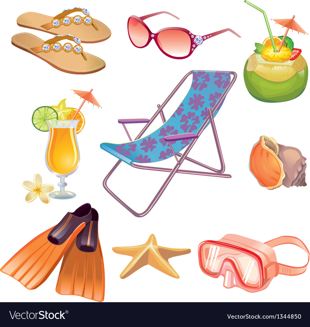 Summer vacation travel icon set vector | Price: 1 Credit (USD $1)