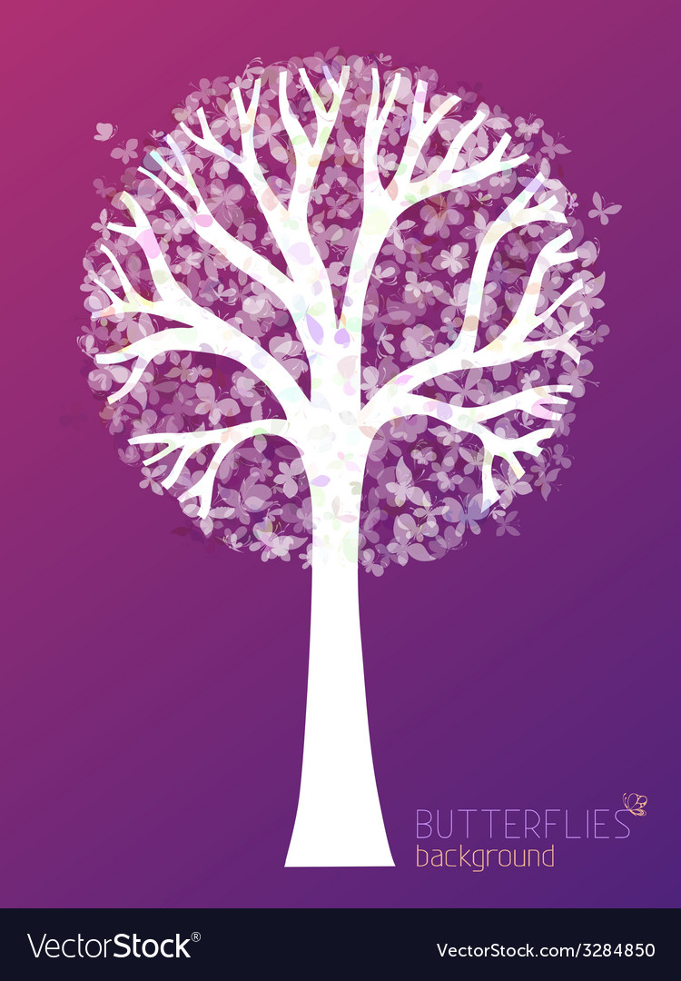 White tree silhouette with butterflies in its vector | Price: 1 Credit (USD $1)