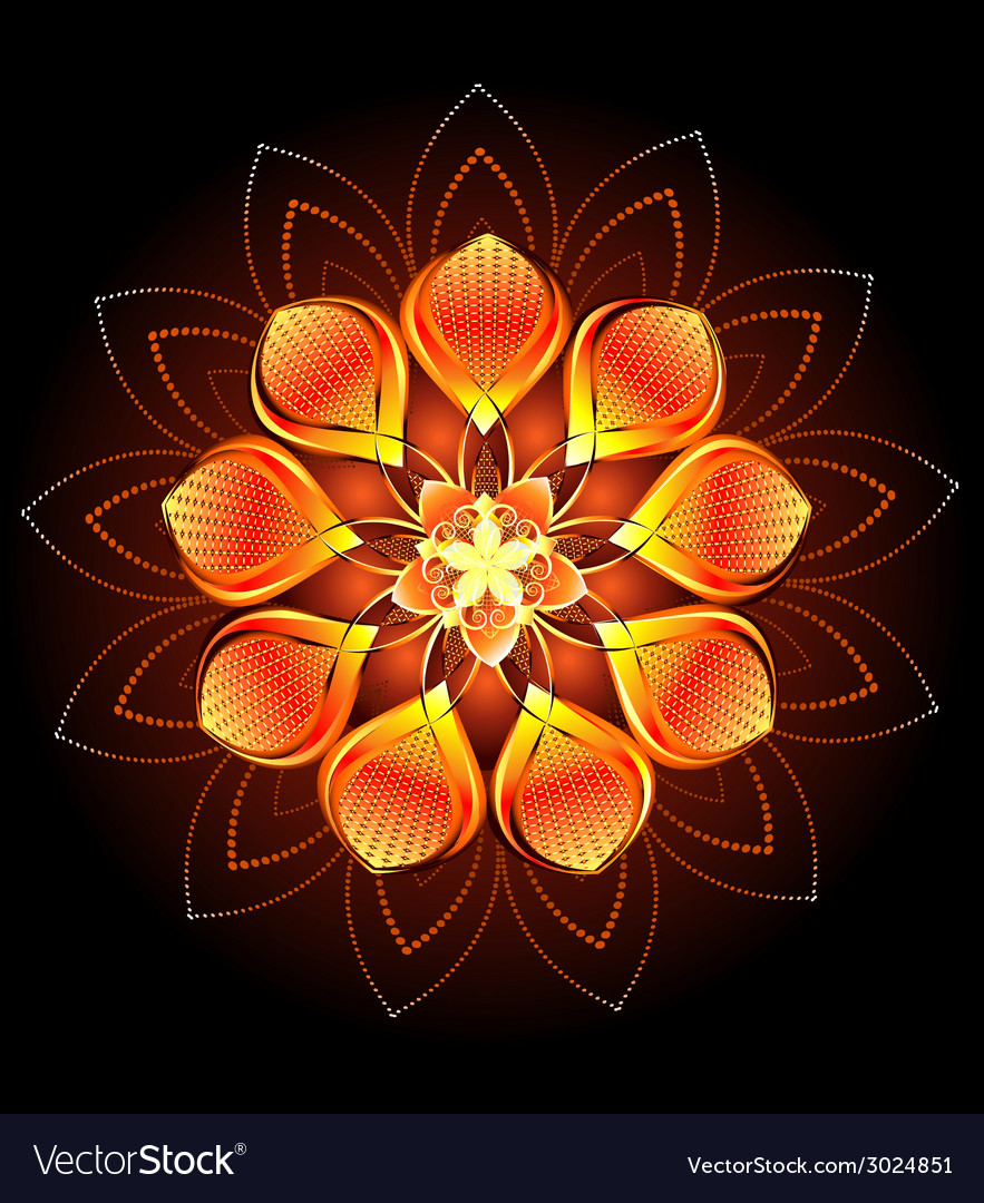 Abstract orange flower vector | Price: 1 Credit (USD $1)