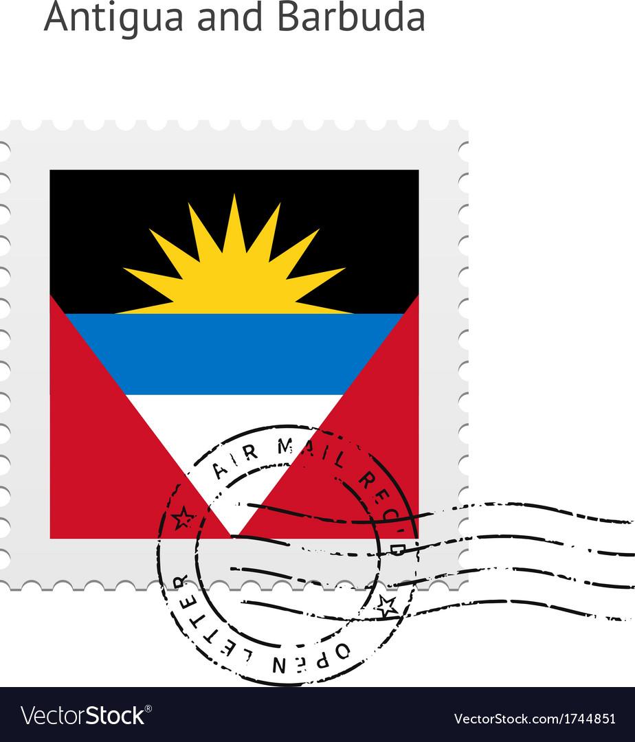 Antigua and barbuda flag postage stamp vector | Price: 1 Credit (USD $1)