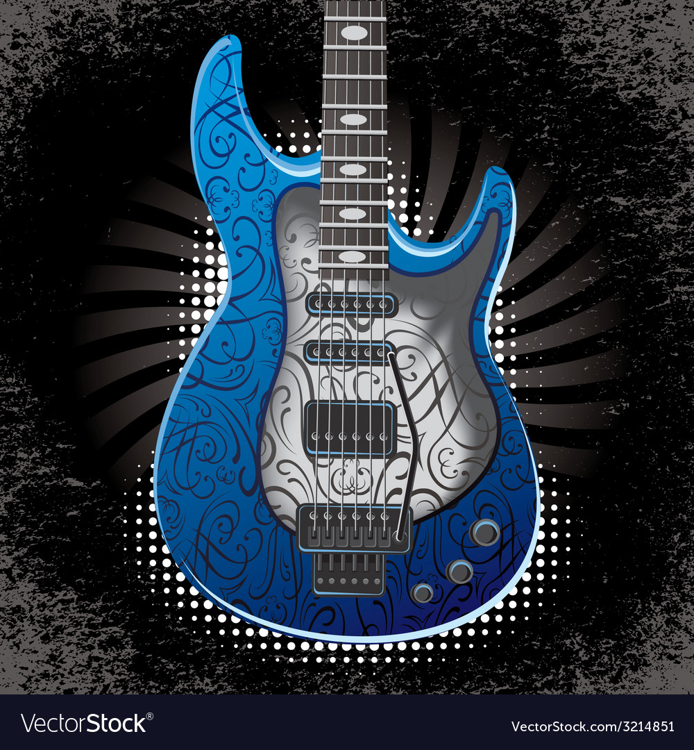 Banner with acoustic guitar on black background vector | Price: 1 Credit (USD $1)