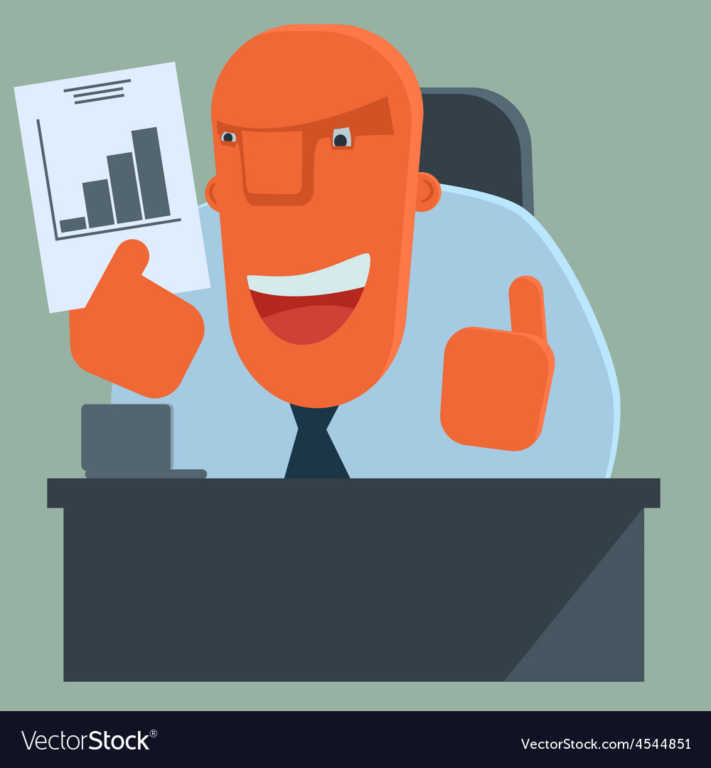 Happy boss is pleased with the results vector   Price: 1 Credit (USD $1)